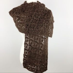 Anthropologie Crochet Chunky Knit Mohair Scarf
